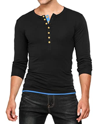 Hotouch Mens Casual Slim Fit Henley Shirt Cotton Tops T-Shirts at ...