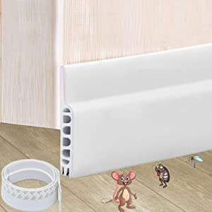 "Door Draft Stopper, Under Door Seal Noise Blocker Cold Weather Bottom Door Stripping Self-Adhesive, White 39""L x1.7""W"