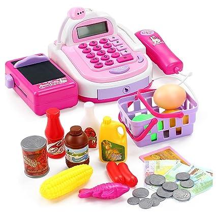 amazon com supermarket cash register play set pink multi