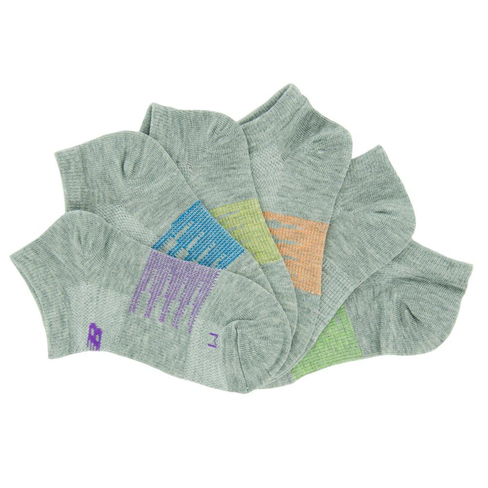 New Balance Children's No Show Socks (6 Pack), Grey, Green, Orange, Yellow, Blue, Purple, Shoe Size 9.5-3 (Medium) by New Balance