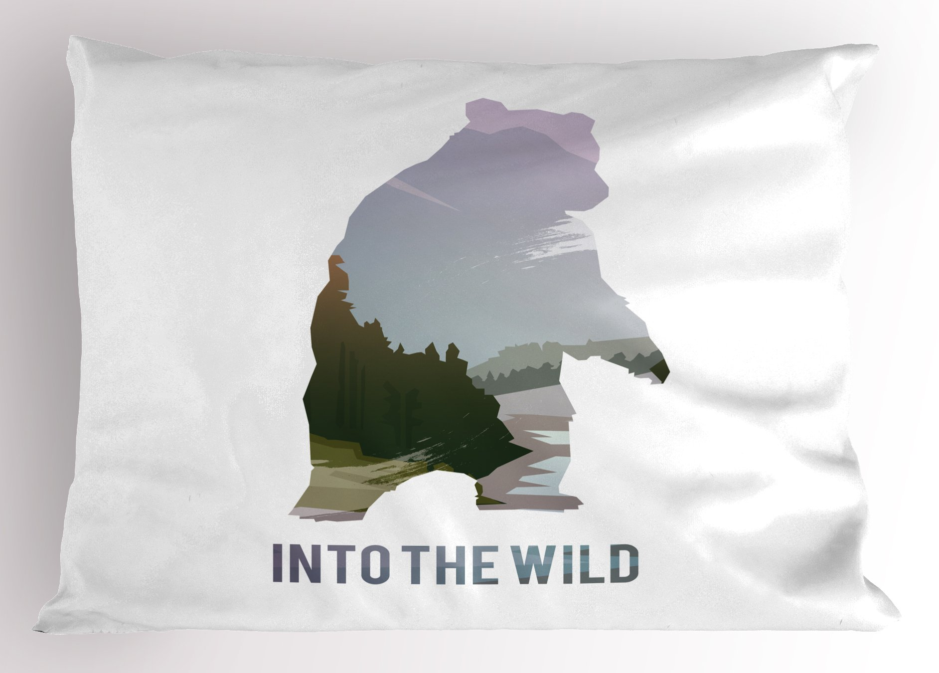 Lunarable Cabin Pillow Sham, Wild Animals of Canada Survival in The Wild Theme Hunting Camping Trip Hobby Outdoors, Decorative Standard Queen Size Printed Pillowcase, 30 X 20 inches, Multicolor