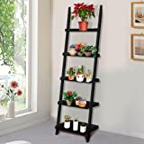 Yaheetech 5 Shelf Wood Leaning Ladder Bookshelf/Bookcase Plant Stand Display Rack Unit, Black