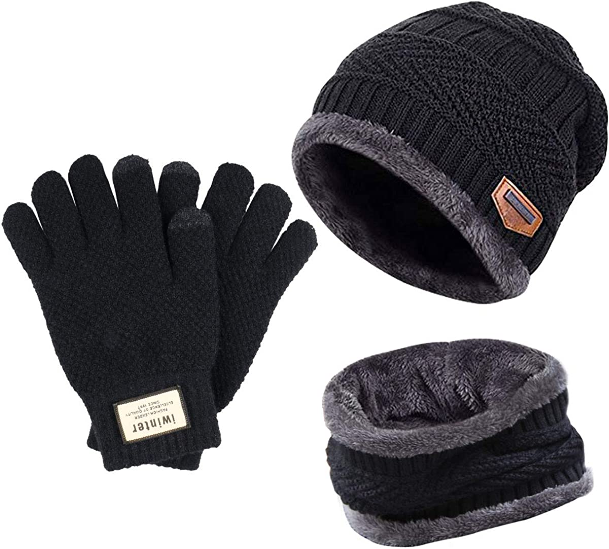 Fostoy Men's Winter Hat, Winter Knit Warm Beanie Hat, Soft Comfortable Hat Scarf Set for Men and Women with Fleece Lining (Black)
