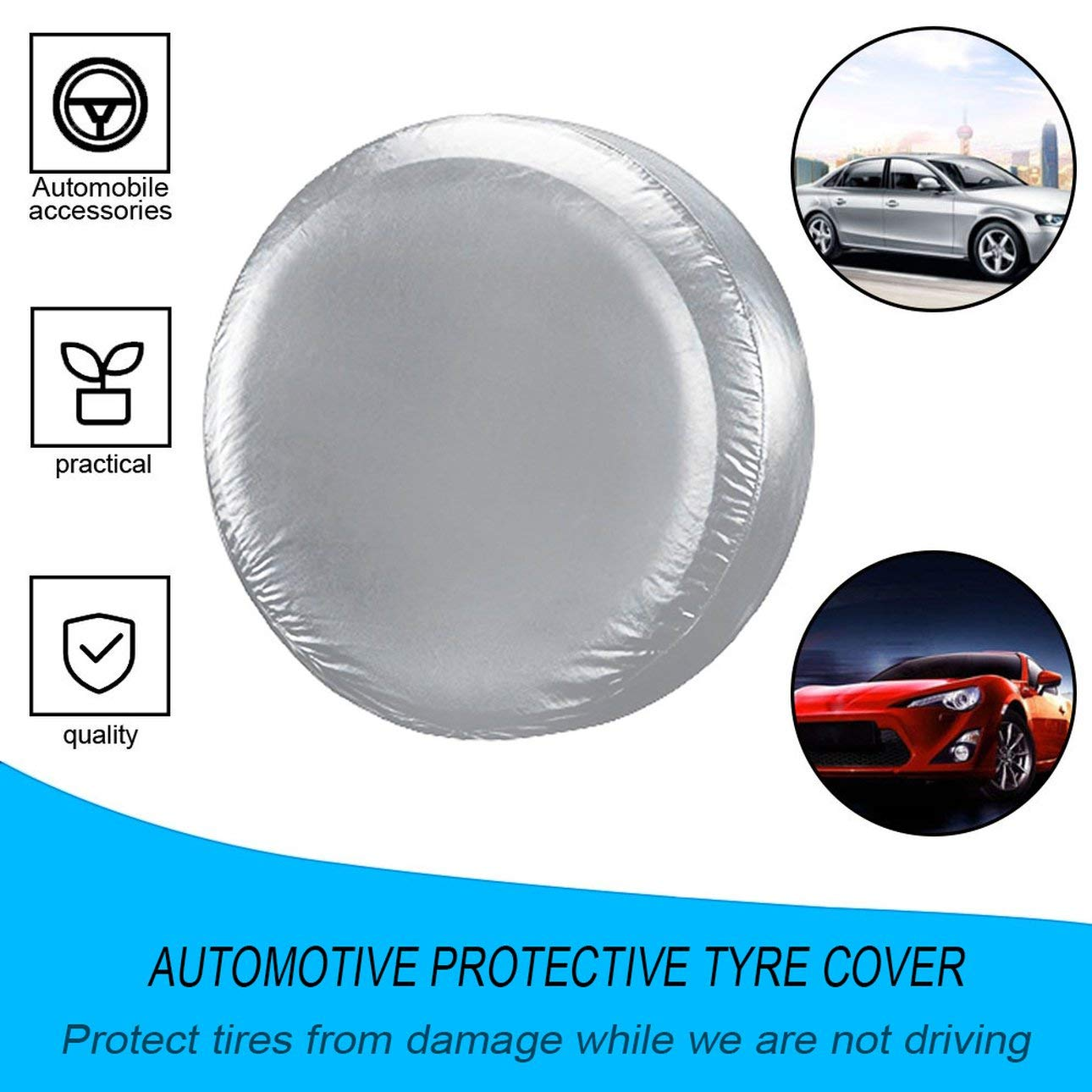 Silver/&L Automobile Car Spare Tire Cover Heavy Duty Waterproof Vehicle Wheel Elastic Protective Case Dustproof Tyre Cover Bag for SUV