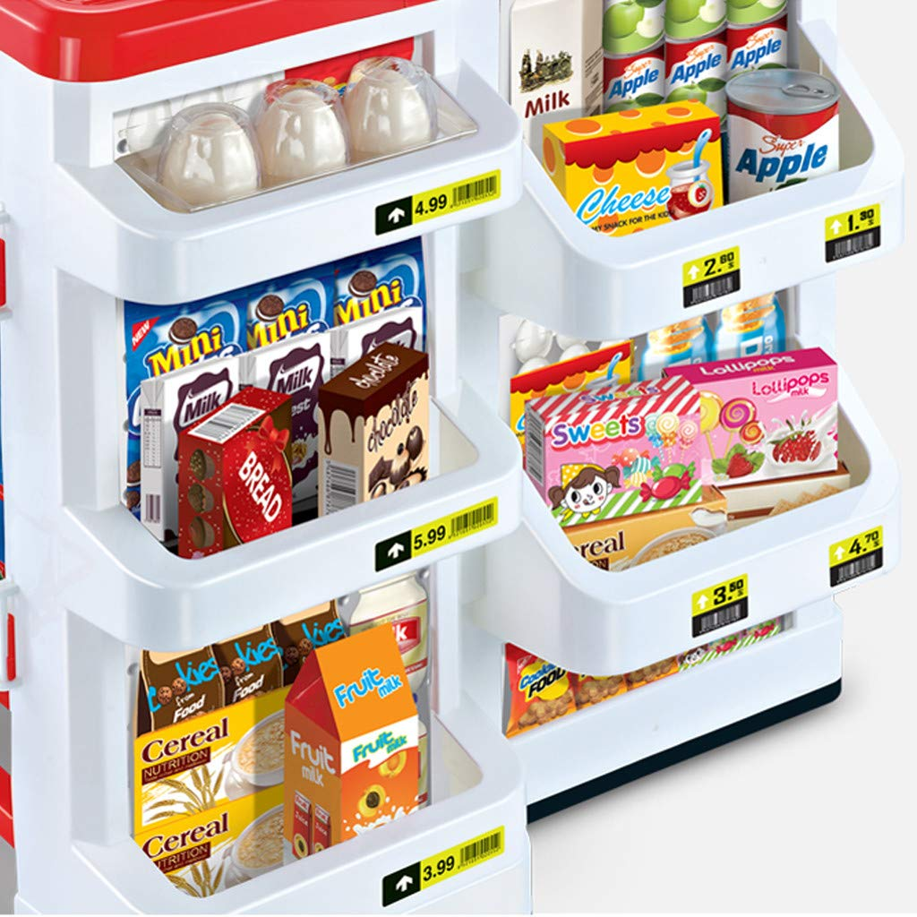 TKI-S 33 Pieces Kids Toy Supermarket Cash Register Shop Trolley Accessories - Shopping cart, Cash Register, Scale,Scanner, 8X Fruits and Vegetables, 4X Drinks, 3X Eggs, 8X Boxed Food, 6X Money by TKI-S (Image #5)