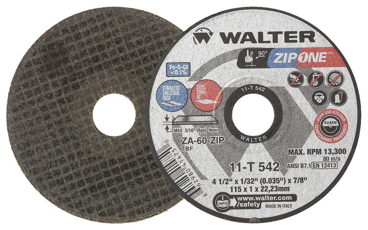 Walter Surface Technologies Walter ZIP One High Performance Cutoff Wheel, Round Hole, Zirconia Alumina, 41/2'' Diameter, 1/32'' Thick, 7/8'' Arbor, Grit ZA60ZIP (Pack of 25) - 11T542