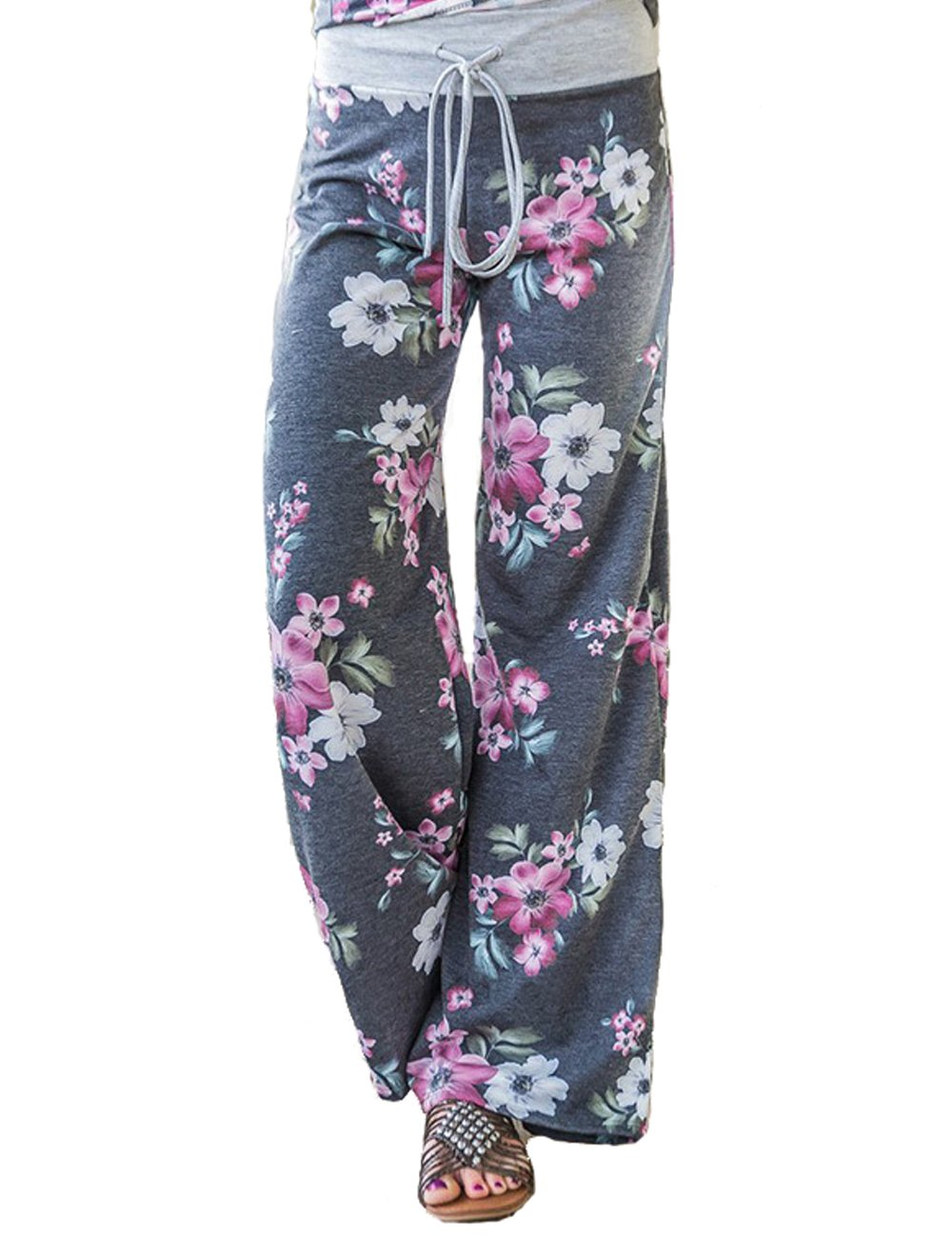 Assivia Women's Casual Pajama Pants Floral Drawstring Wide Leg High Waist Palazzo Lounge Pants (L, Grey5)