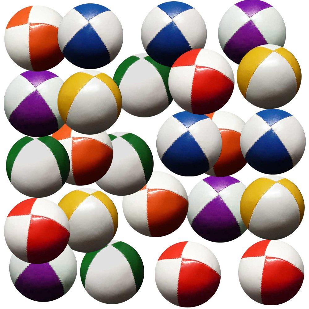 Set 24 Jonglierbälle 62mm 90g jedes (Bi-Farbe je 4) Rot & Weiß, Gelb und Weiß, Blau & Whitegreen & White, Violet & White