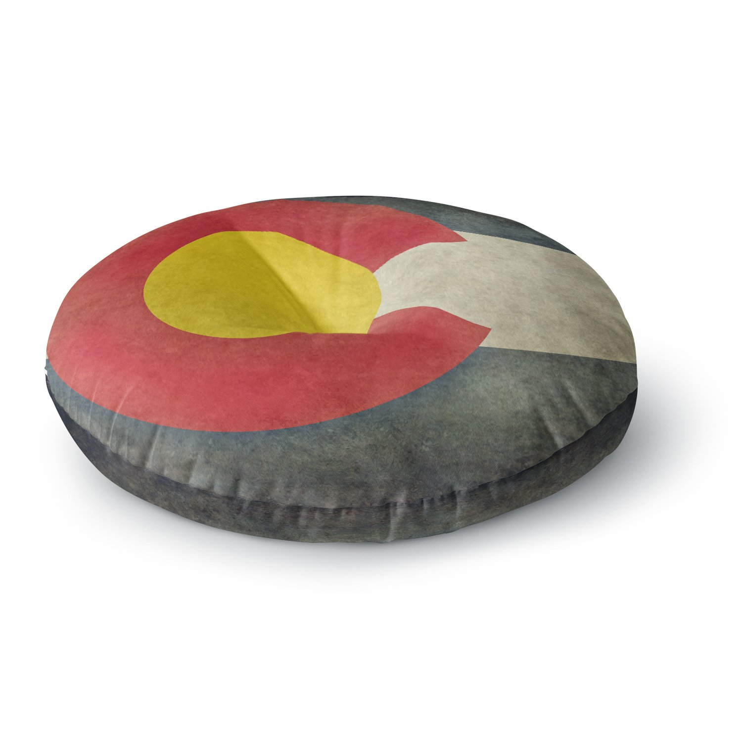 26 Round Floor Pillow Kess InHouse Bruce Stanfield State Flag of Colorado Black Red