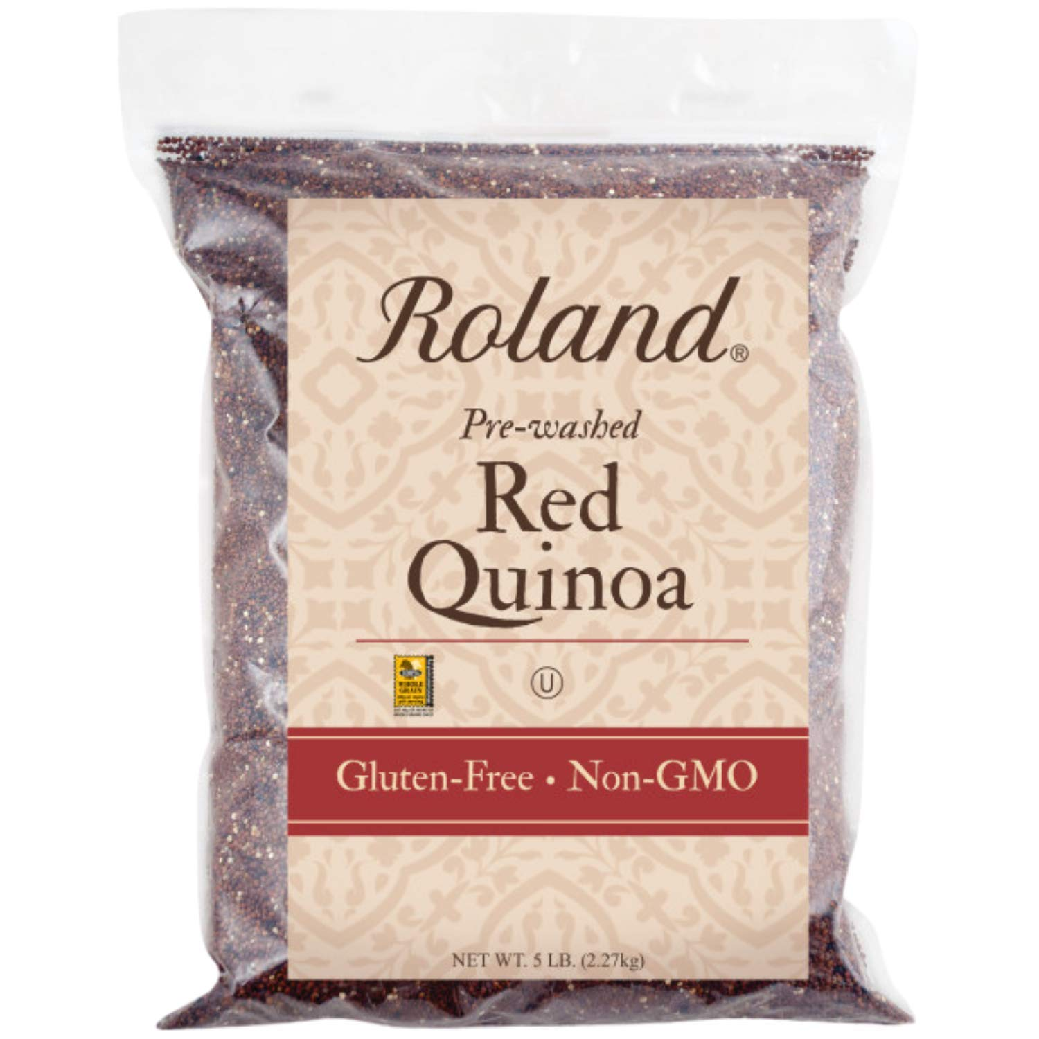 Roland Foods Red Quinoa from Peru, Pre-washed, 5 Lb Bag