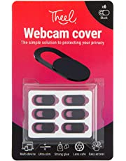 Webcam cover, protect your privacy online when using a laptop, tablet, Macbook, Macbook Pro, iPad, PC and more. Easy to use, ultra slim, robust, sliding camera cover, in black, 6 pack. Stronger glue.