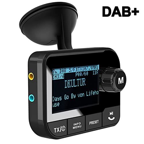 Blufree In Car DAB+ Digital Radio Adapter FM Transmitter, Bluetooth Receiver Handsfree Car Kit MP3 Music Play, DAB Portable Radio Adaptor with Crystal Sound/USB Car Charger/AUX/TF Slot/LCD Display