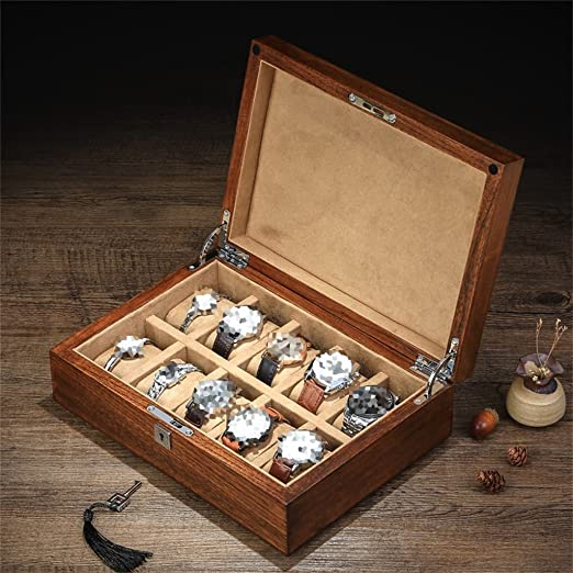 Amazon.com: Watch Box Jewelry Storage Organizer Luxury 10 Watches Slots Watch Box Wooden Lockable Watch Case for Travel or Shop Window Display Jewelry ...