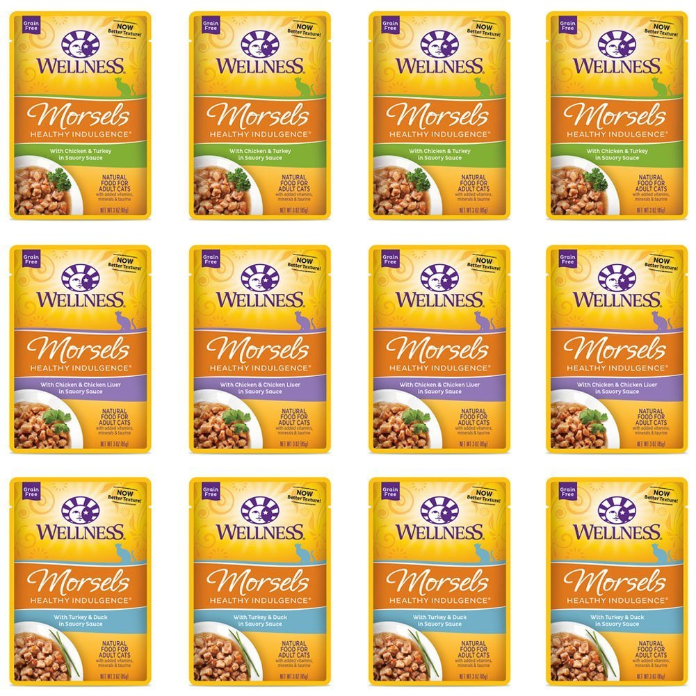 Wellness Healthy Indulgence Natural Grain Free Wet Cat Food Variety Pack, 3-Ounce Pouches (4) Morsels Chicken & Chicken Liver, (4) Morsels Turkey & Duck, (4) Morsels Chicken & Turkey (12 Pack Pouches) by Wellness