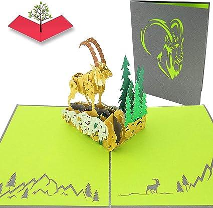 PopLife Cards Tarjeta de felicitación emergente de 3D de cabra de montaña para todas las ocasiones animales salvajes, escalada en roca, signo del ...