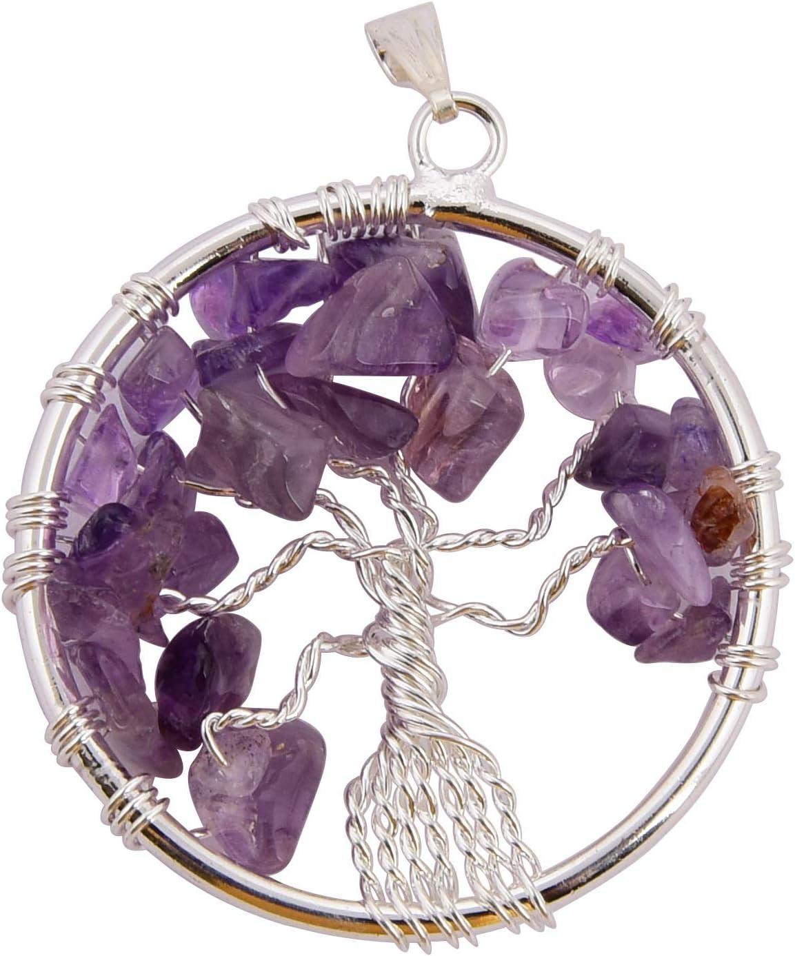 Blessfull Healing Reiki Healing Gemstone Collar de árbol de la vida Piedra de amatista Forma de círculo Colgante envuelto en alambre