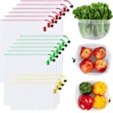 Ecowaare 15 Pcs Reusable Produce Bags,3 Sizes Washable and See-Through Mesh Bags for Grocery Shopping, Fruits and Vegetables, with Colorful Tare Weight Tags,3 Small 6 Medium & 6 Large