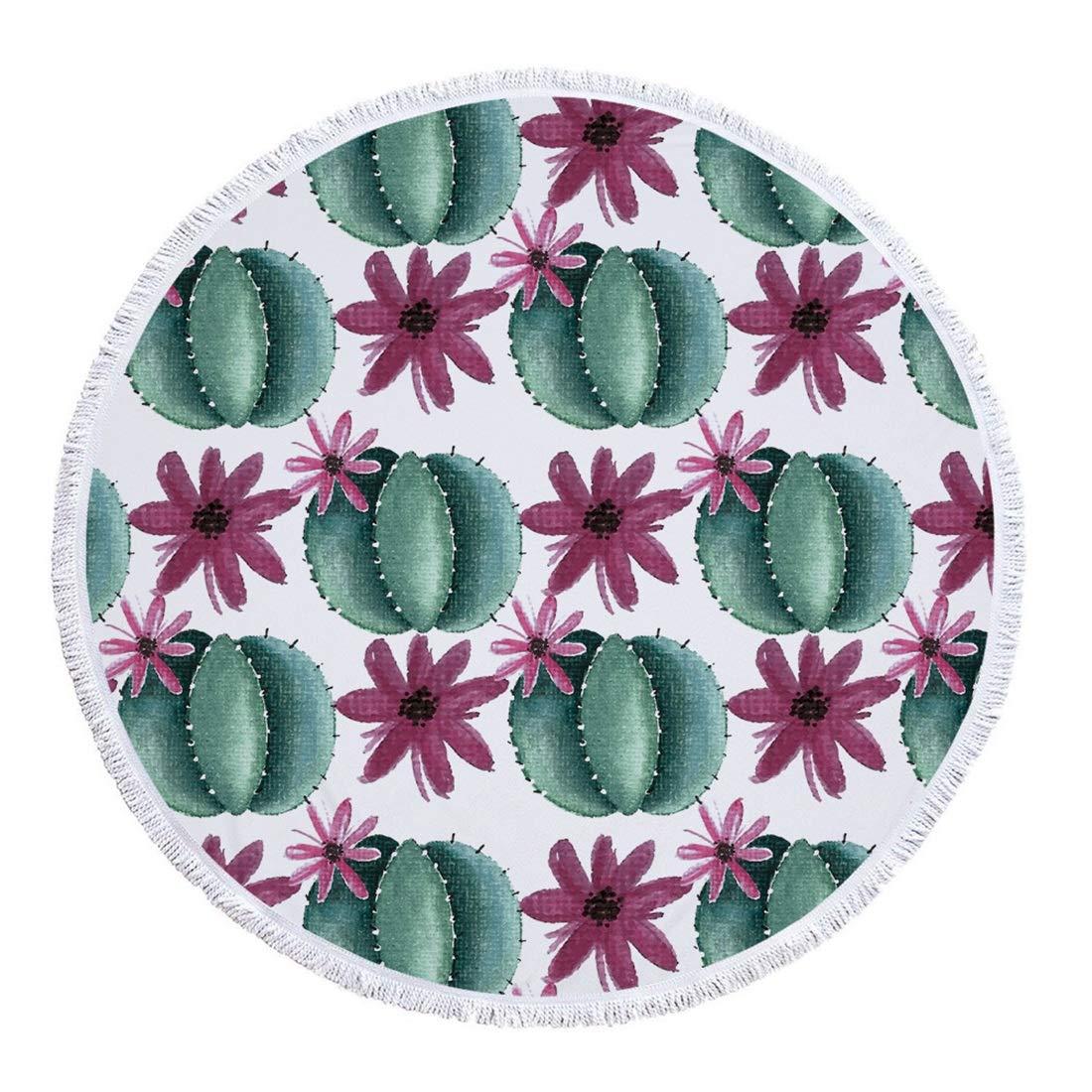 Mifusanahorn - Toalla de Playa Redonda de Microfibra, diseño de Flores, Color Verde, Microfibra, A003, 540: Amazon.es: Deportes y aire libre