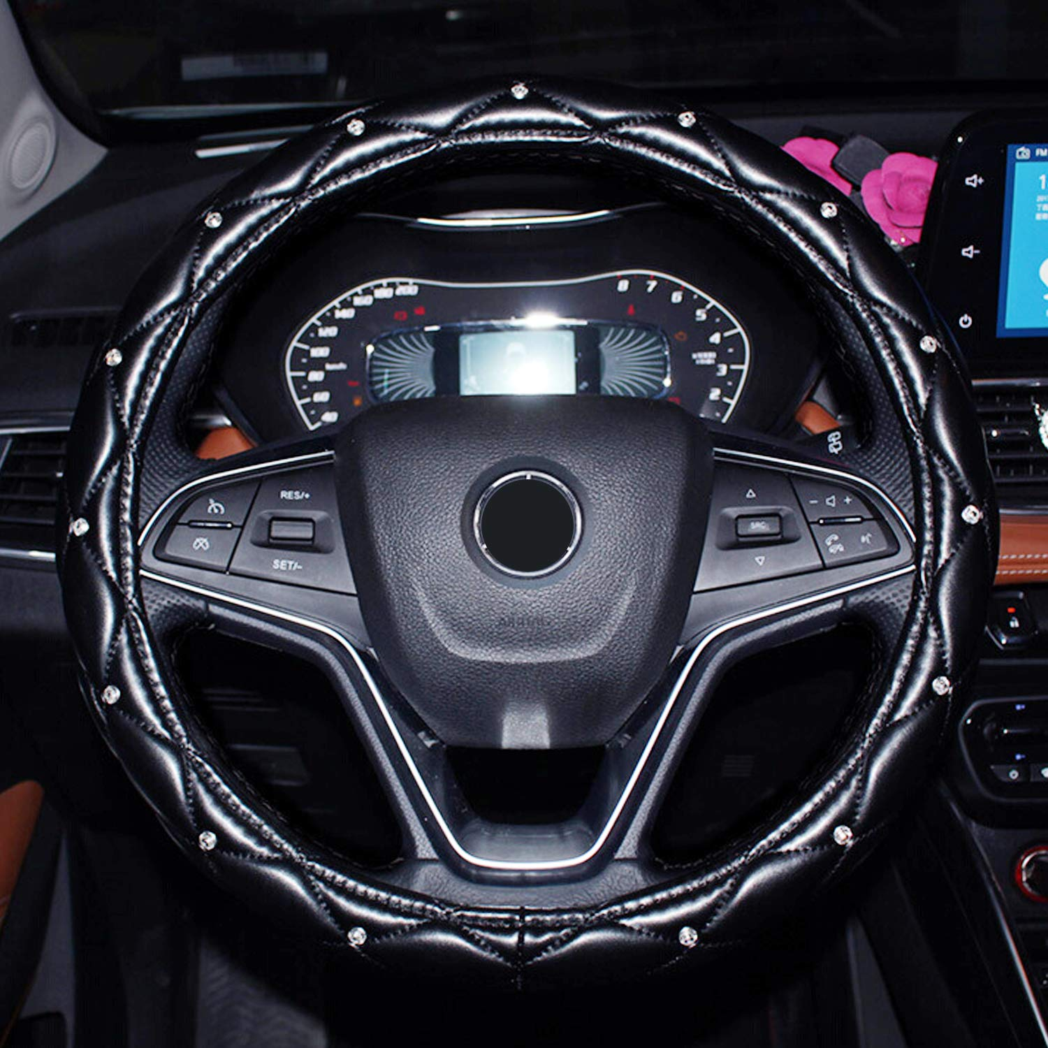 Black Super PDR Steeing Wheel Cover for Women,Leather Bling Cute Car Steering Wheel Cover Universal 15inch with Crystal Diamond