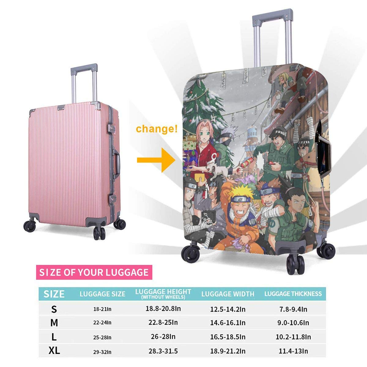 Travel Luggage Cover Naruto Christmas Travel Luggage Cover Suitcase Protector Fits 26-28 Inch Washable Baggage Covers
