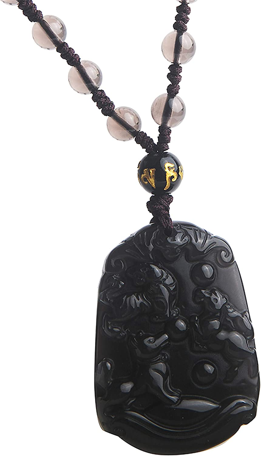 natural ice obsidian carved fox good luck pendant