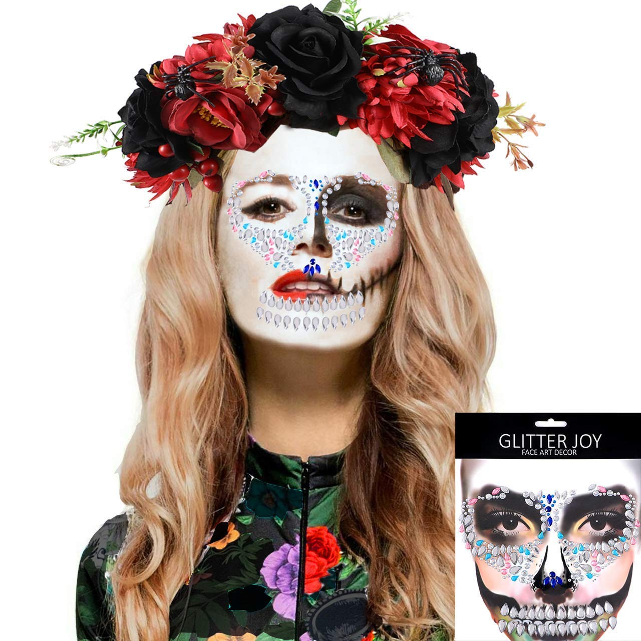 Adult Womens Day Of The Dead Glitter Tattoos Pink Blue Black Costume Accessories