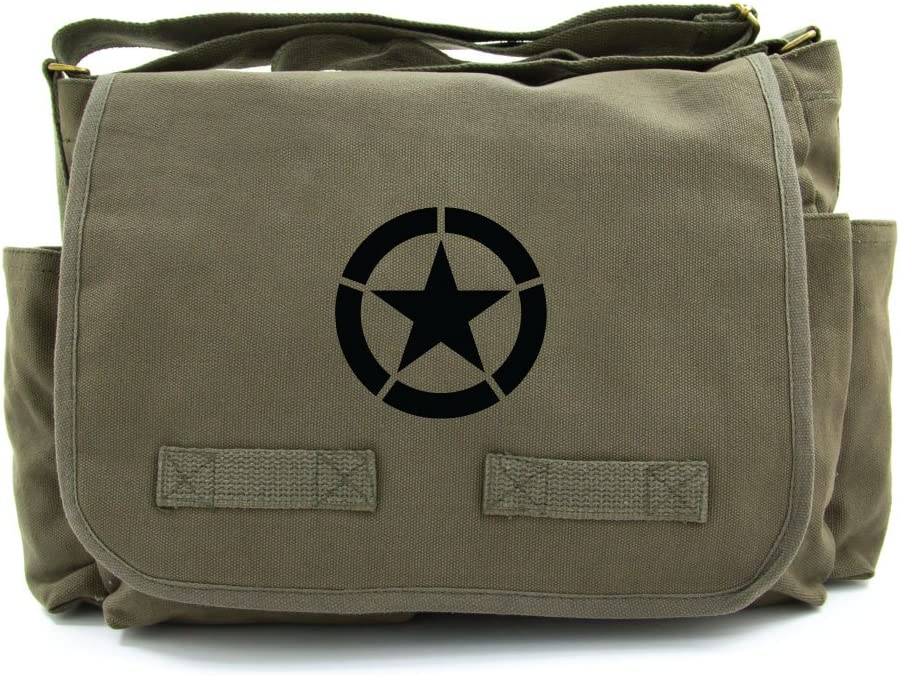 World War 2 Military Jeep Star Army Heavyweight Canvas Messenger Shoulder Bag in Olive Black