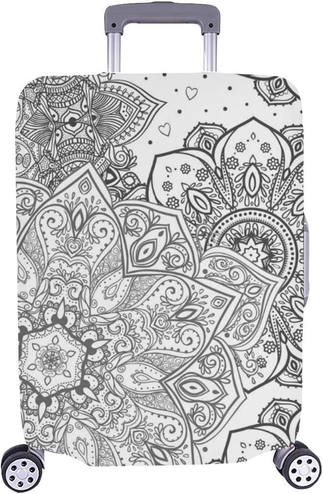 (Solo Cubrir) Ornamento Hermoso Mandala Círculo geométrico Maleta con Ruedas Maleta Protectora para Viaje Maleta Cubierta Protectora para 28.5 X 20.5 Pulgadas