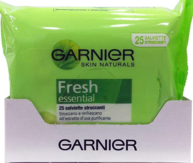 6 x Garnier Skin Naturals Toallitas Desmaquillantes Fresh 25 piezas