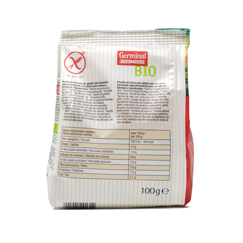 Germinal Mini Crackers con Cúrcuma - 100 gr: Amazon.es: Alimentación y bebidas