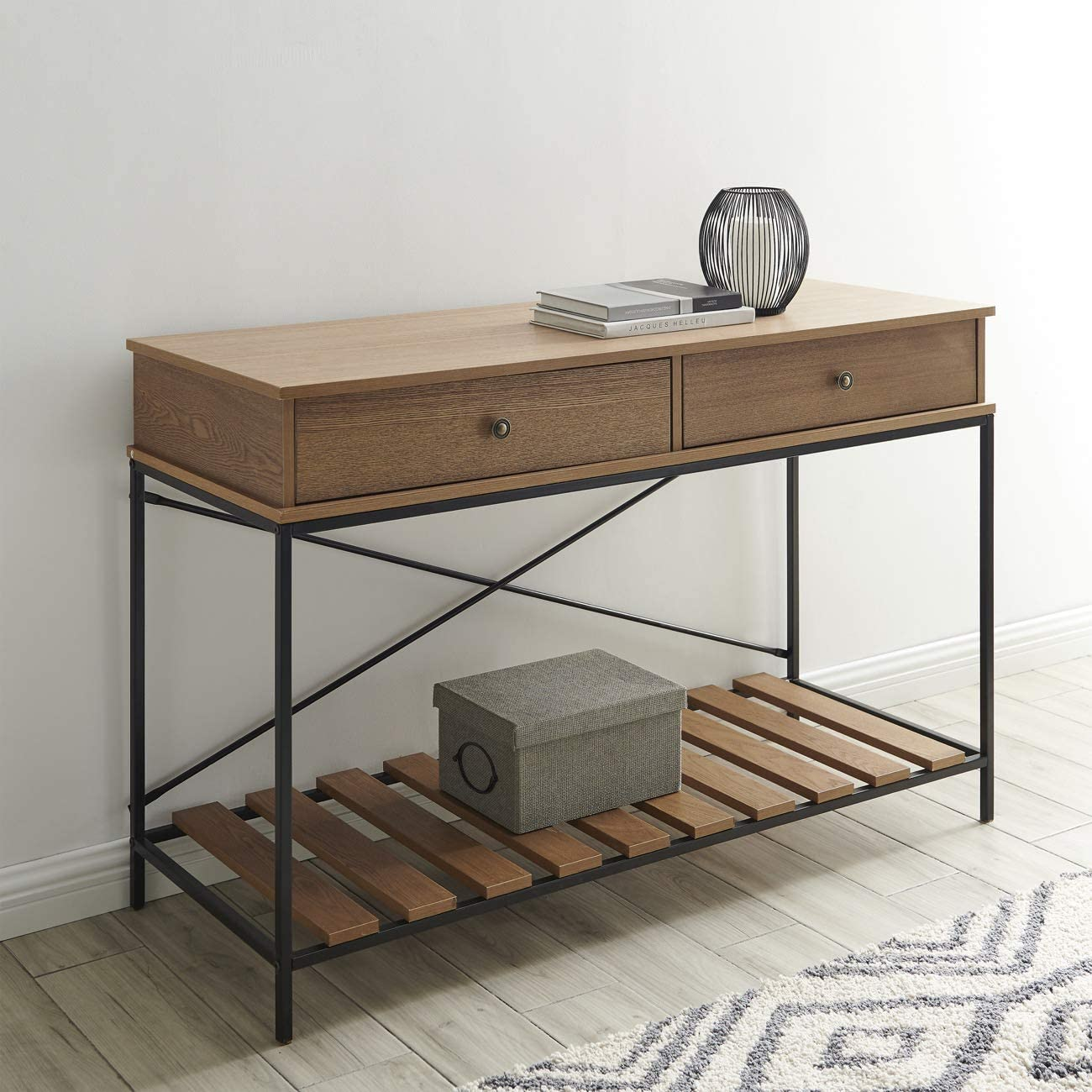 BELLEZE Traditional Wood and Metal Criss-Cross Console Table, Brown
