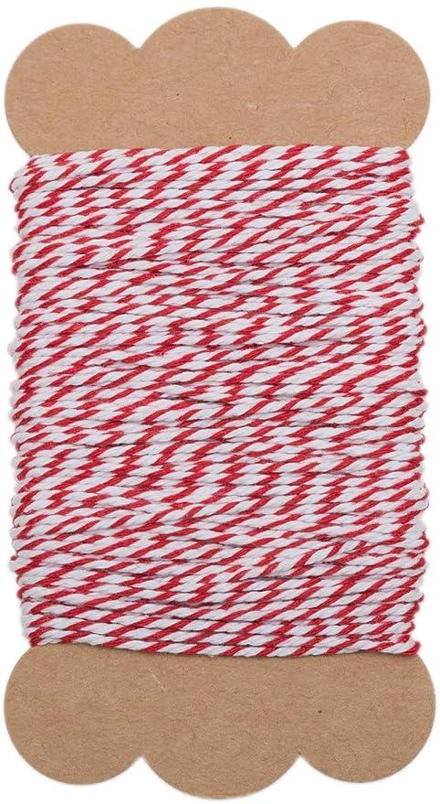 100%Mosel Hilo Rojo y Blanco, 2 mm de Grosor, 20 m Manualidades
