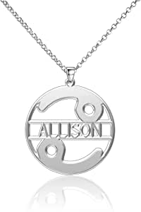LoEnMe Jewelry Silver Plated Cancer Men Personalized Customized Name Hers are Back Platinum 925 Necklace