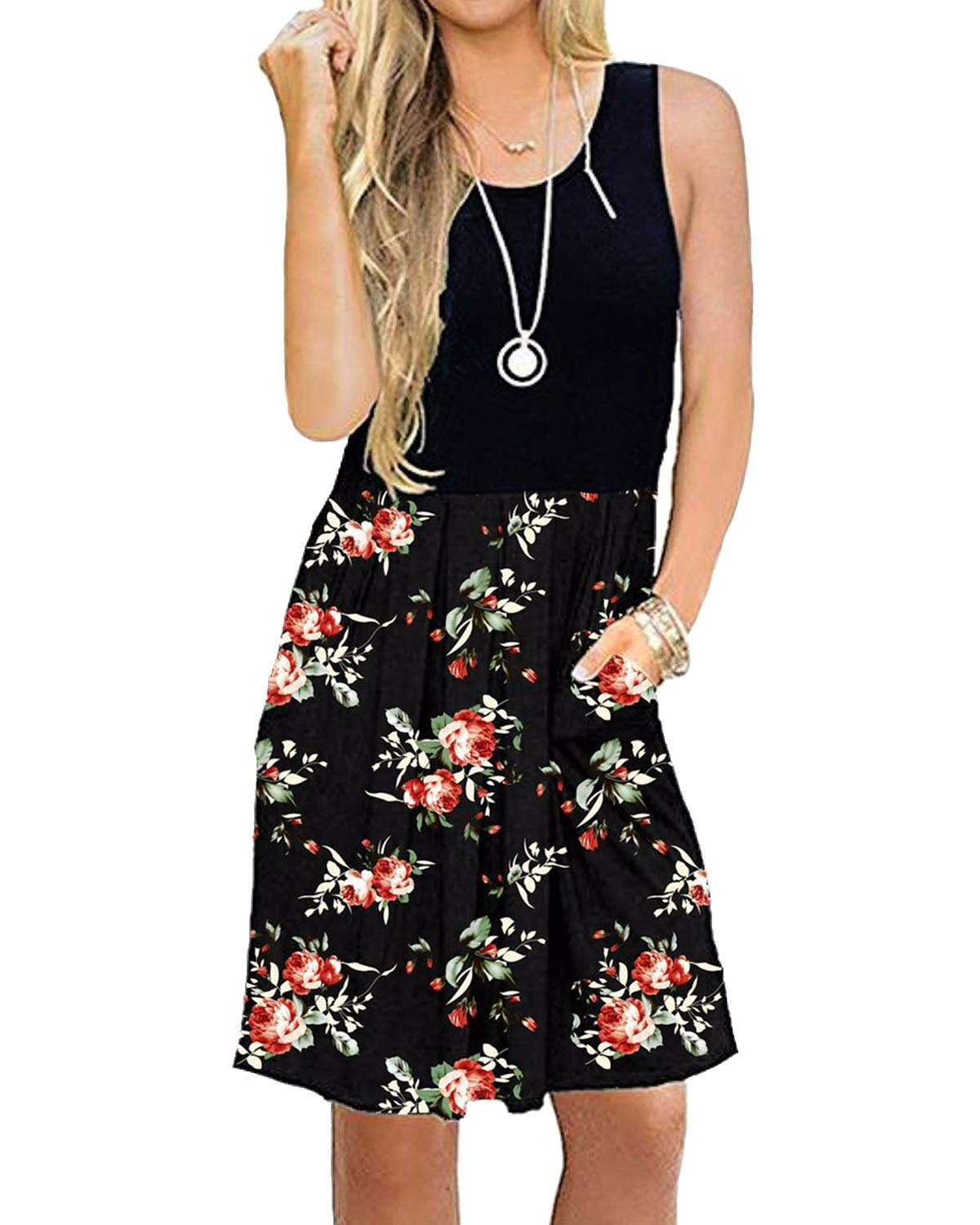 deesdail Long Floral Black Dresses for Women, Ladies Round Neck Summer Sleeveless Tank Dress with Pockets Midi Length Casual Shirts Flower Black M
