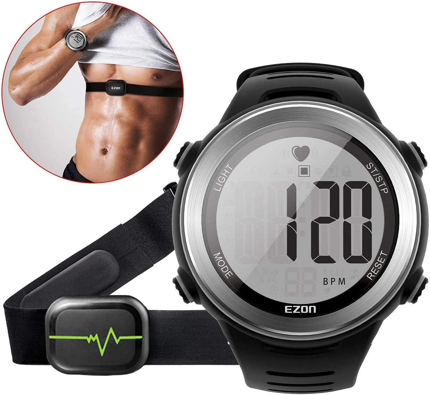 EZON Heart Rate Monitor Sports Watch with HRM Chest Strap,Waterproof,Stopwatch,Hourly Chime