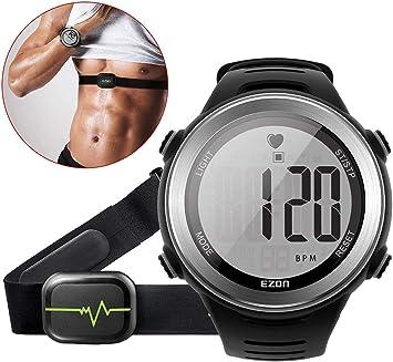 EZON Pulsómetro con Correa para el Pecho, Alarma de Frecuencia Cardiaca, Cronómetro, Alarma Diaria y Calendario: Amazon.es: Deportes y aire libre