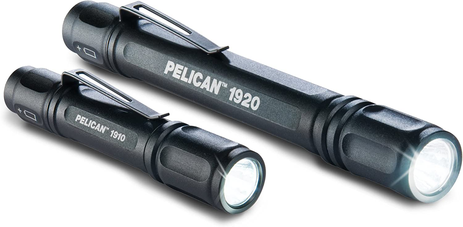 Image of the Pelican penlight, color black. Lens facing front.