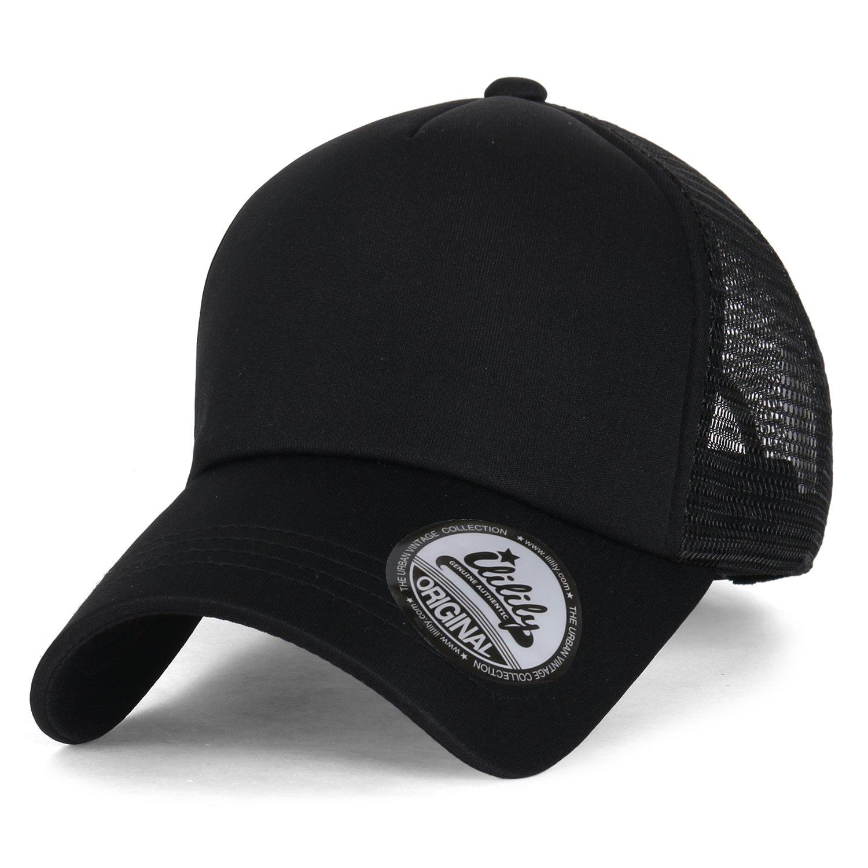 ff7f9bb13cf8b ililily Plain Baseball Cap Simple Mesh Snapback Color Trucker Hat ...