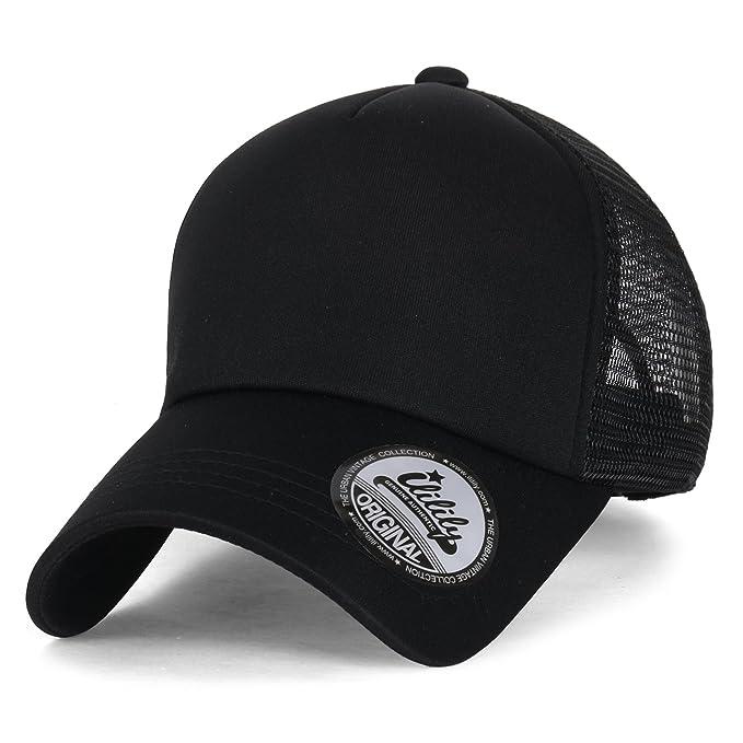 ililily Plain Baseball Cap Simple Mesh Snapback Color Trucker Hat ... 290f61ee196