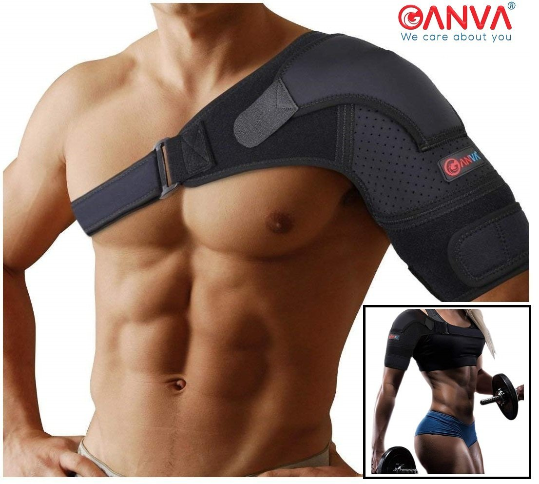 Shoulder Support Brace - Shoulder Brace Rotator Cuff   Dislocated AC Joint, Compression Sleeve Recovery, Shoulder Injuries, Adjustable Size Right and Left Arm for Men and Women by GANVA