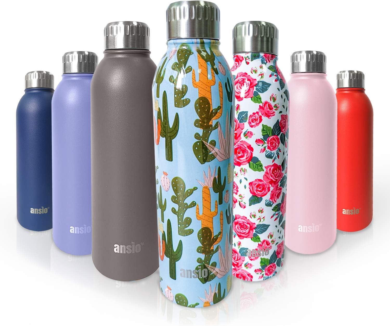 ANSIO Botella Agua Acero Inoxidable,Botella Agua 500 Ml, Aislamiento Doble Pared Botella de Agua Caliente y fría sin BPA, para al Aire Libre, Niños, Deporte, Oficina, Gimnasio, Ciclismo