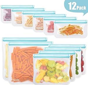 sherry 12 Pack Reusable Ziplock Bags, (4 Reusable Sandwich Bags+6 Reusable Snack Bags +2 Reusable Lunch Bags Bread Box Plastic Bag Alternative Reusable Food Storage Bags