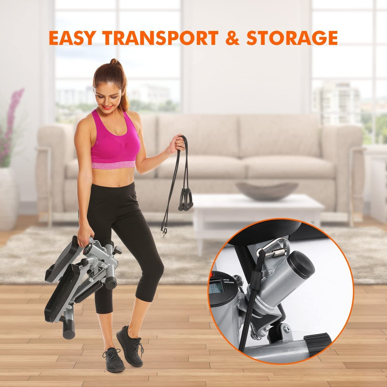 garain Mini ajustable Cardio Twister stepper aire subir escalera paso a paso ejercicio paso máquina de Fitness con bandas de resistencia para ejercicio en casa (US stock): Amazon.es: Deportes y aire libre