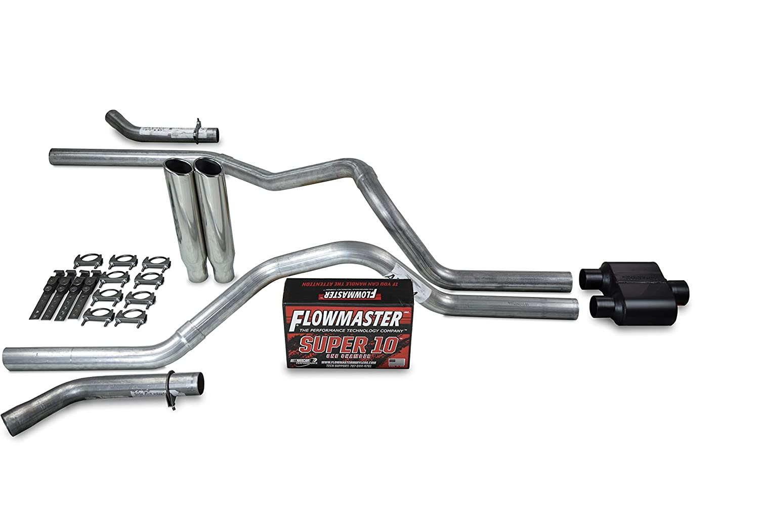 Shop Line Dual Exhaust System 2.5 Stainless Steel Flowmaster Super 10 2.5 Polished Rolled Edge Clamp on Tip Truck Exhaust Kits