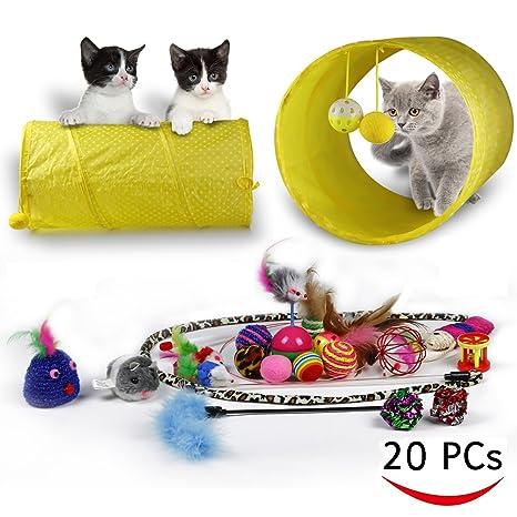 RIO Direct - Pack de 20 juguetes variados para gatos y gatitos - Túnel para gatos