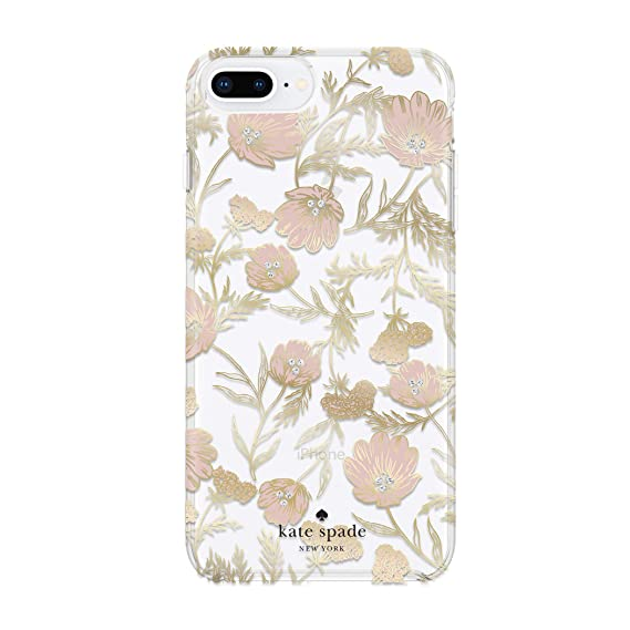 best website 695ca 1d791 kate spade new york Cell Phone Case for iPhone 8 Plus/7 Plus/6 Plus/6s Plus  - Multi Blossom Pink/Gold with Gems