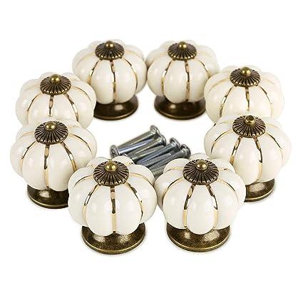 colore: giallo Pomelli per credenze e cassetti 8 unit/à in stile vintage rustico in ceramica