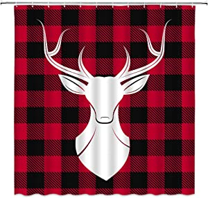Rustic Plaid Shower Curtain, Vintage Buffalo Red Black Plaid Checks Buck Deer Head Retro Rural Art Fabric Bathroom Decor Sets with 12 Hooks,71X71 Inchs,White