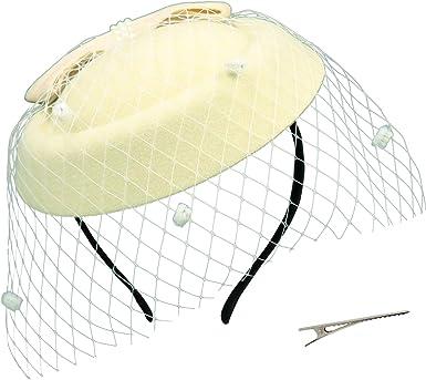 Umeepar Pillbox Fascinator Hat for Women Wedding Kentucky Derby Tea Party Hat Feather Headband Hair Clip with Veil