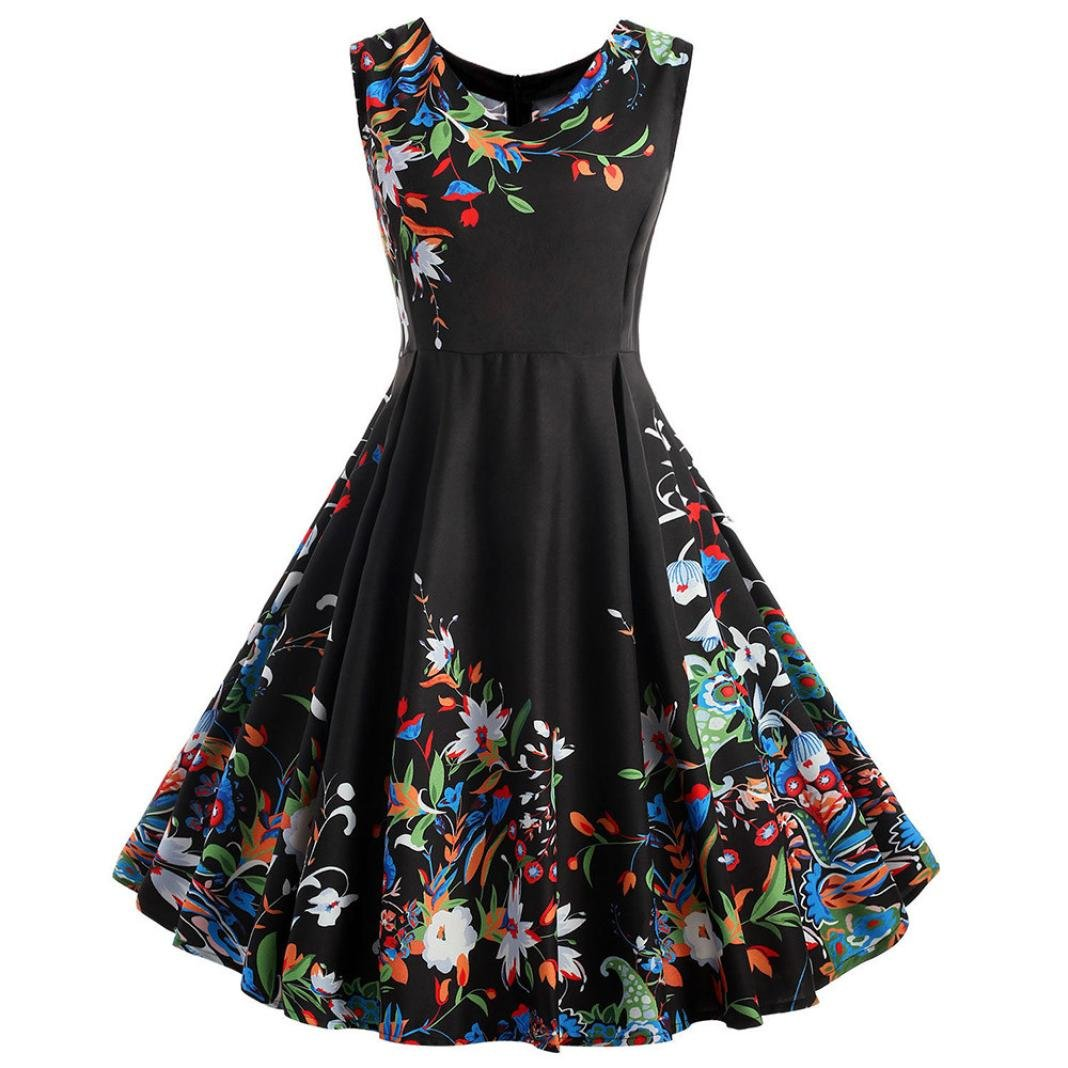 Lady Large Size Printed Dress SanCanSn Women's Sleeveless Round Neck Retro Print Dress(Black ,2XL)